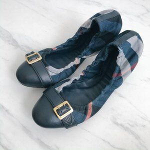 Burberry Navy Blue Check Buckle Flats Size 8.5